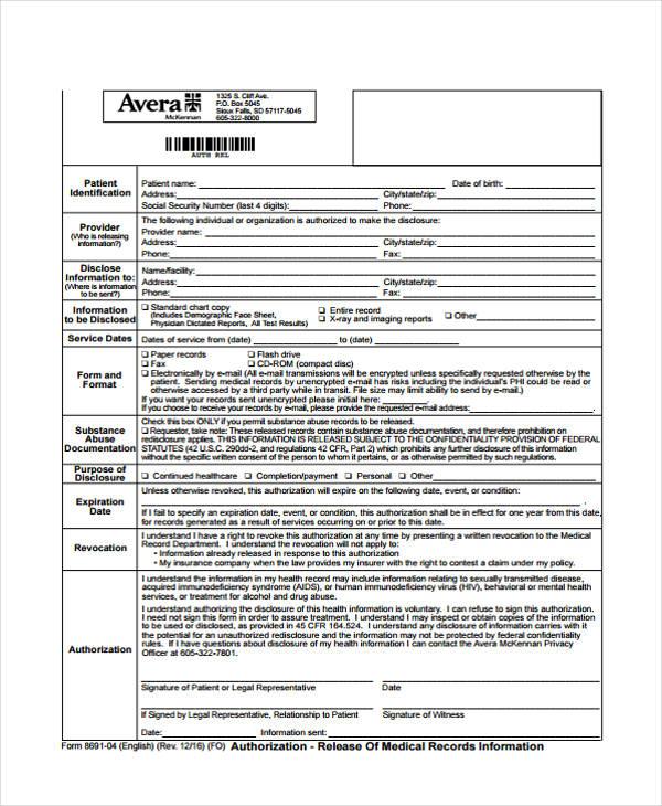 Patient Release Form - legal release form template