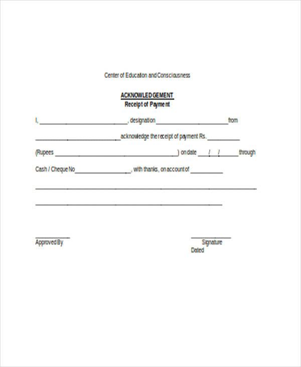 26+ Receipt Forms in Word - acknowledgement receipt sample