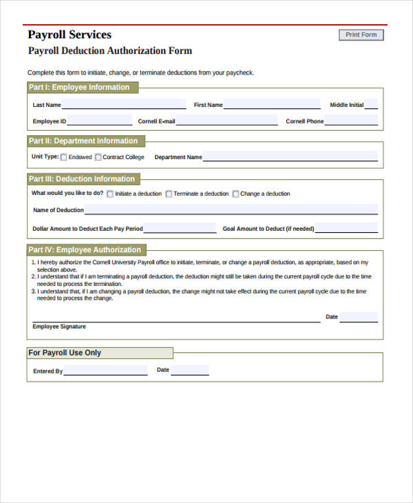 Sample Payroll Forms - payroll authorization form
