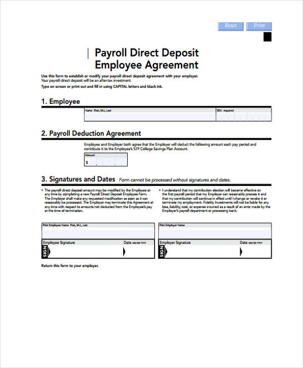 employee agreement form