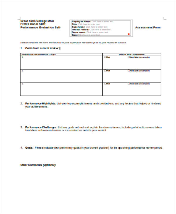 Self Assessment Form Template - performance self evaluation form