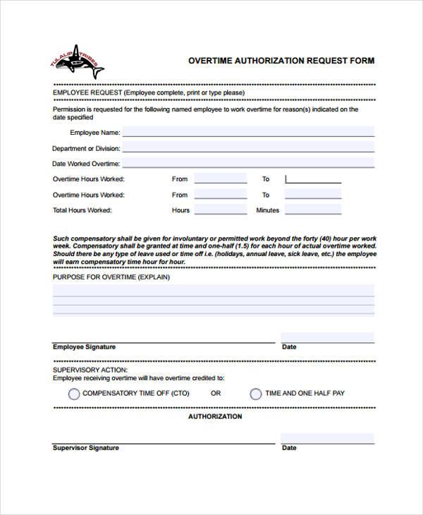 Overtime Request Form cvfreepro - leave authorization form