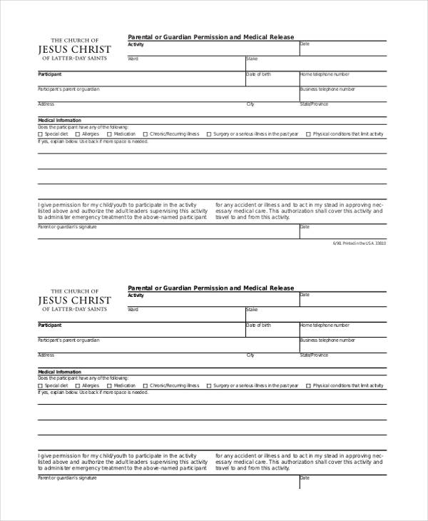 Emergency Release Form Sample General Release Form - 10+ Download - general liability release form template
