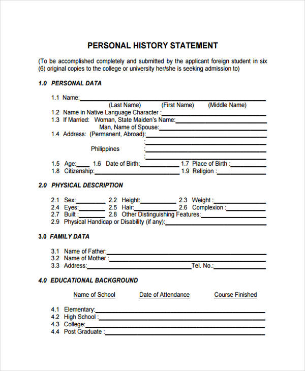 Grad school personal history statement sample - 100 original papers