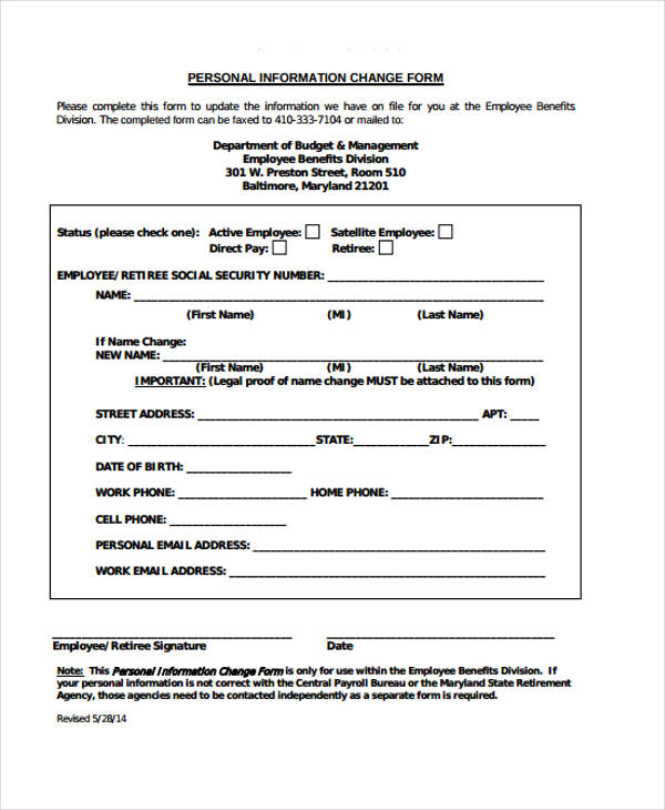 Change Form Template - employee change form