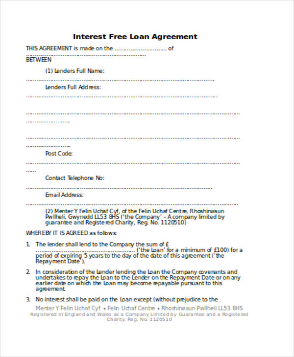 Loan Agreement Form Template - private loan agreement template