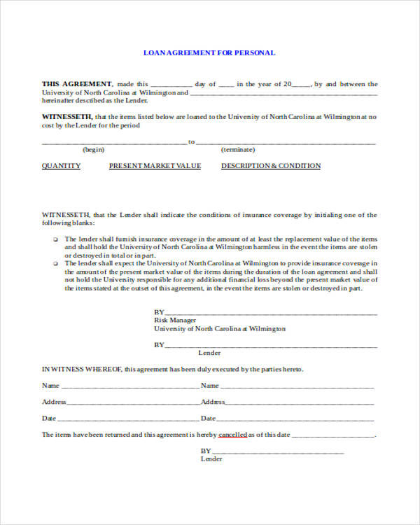 Free Loan Agreement Form - personal loan document free
