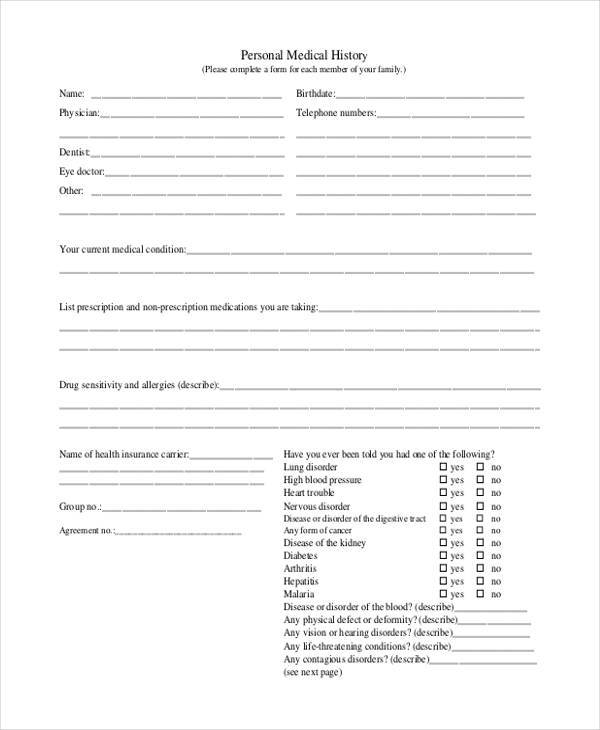 Medical Report Forms - medical history forms
