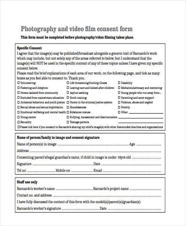 Photography Consent Form oakandale
