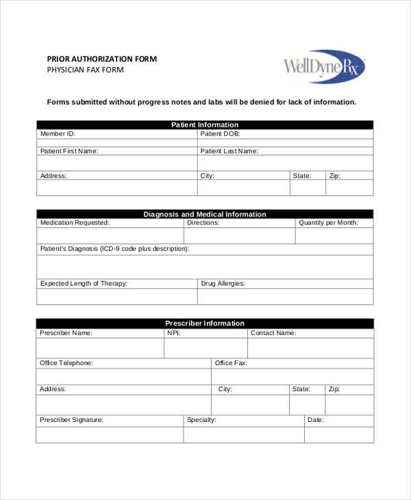 12+ Prior Authorization Form Samples - Free Samples, Examples Format - prior authorization form