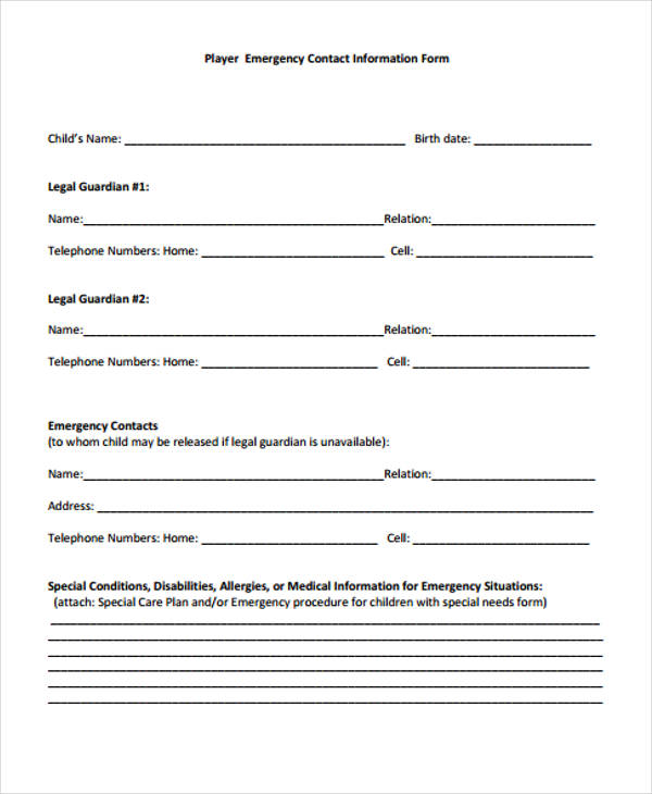 32+ Emergency Contact Form Example - contact information form