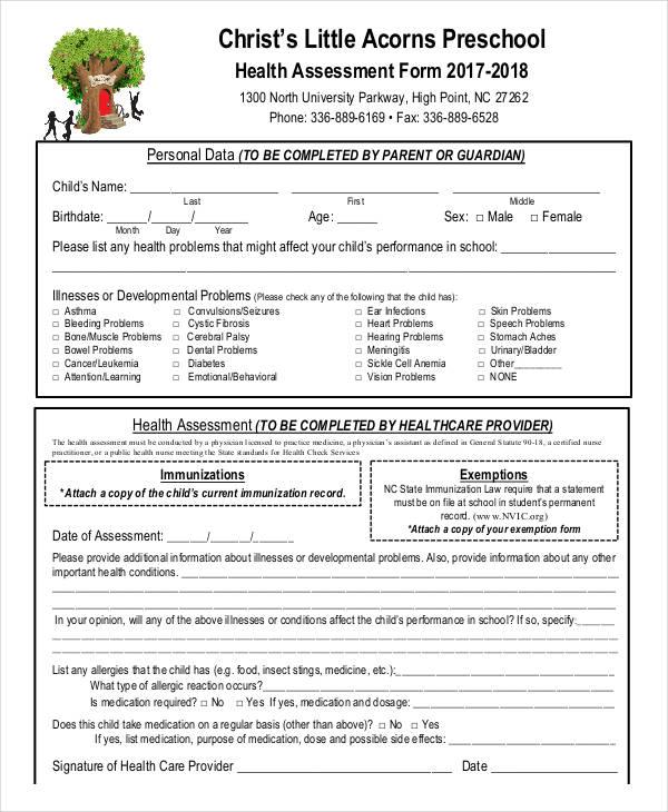 pediatric nursing assessment form xv-gimnazija