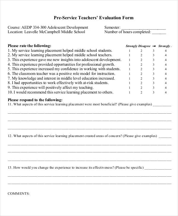 Creating Effective Evaluation Forms  Sample Ideas