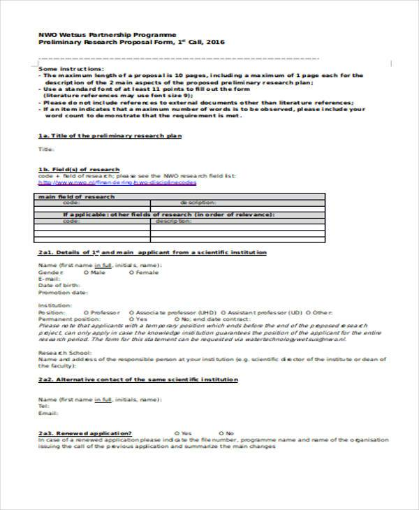 12+ Research Proposal Form Samples - Free Sample, Example Format