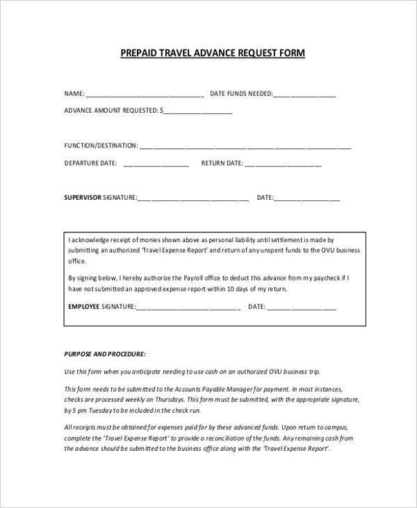 travel advance form - Seatledavidjoel