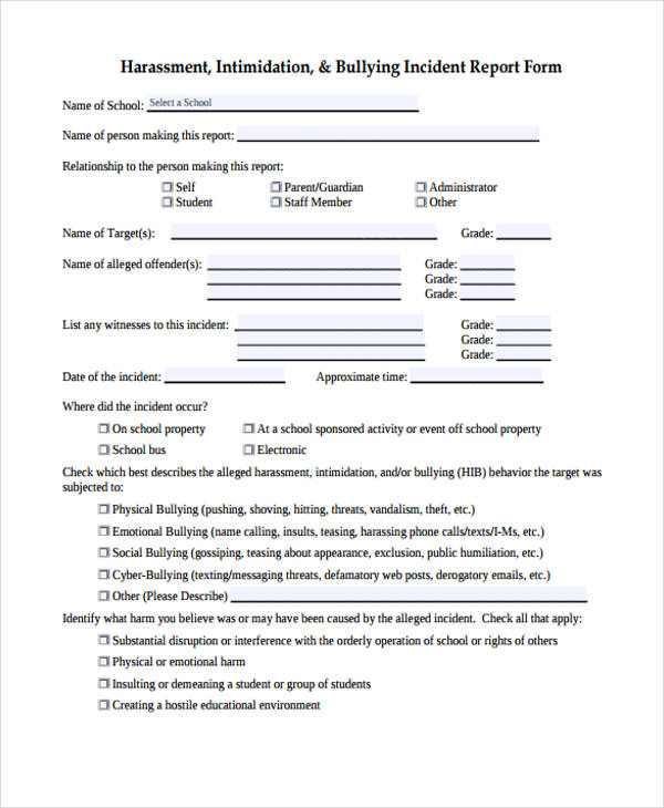 Incident Report Form Example - incident report forms