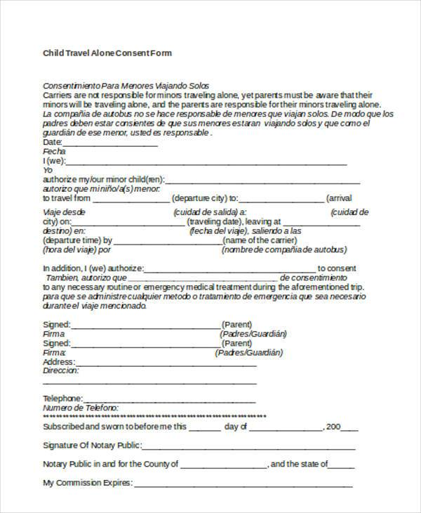 44+ Consent Form Samples- Free Sample, Example Format Download - parental travel consent
