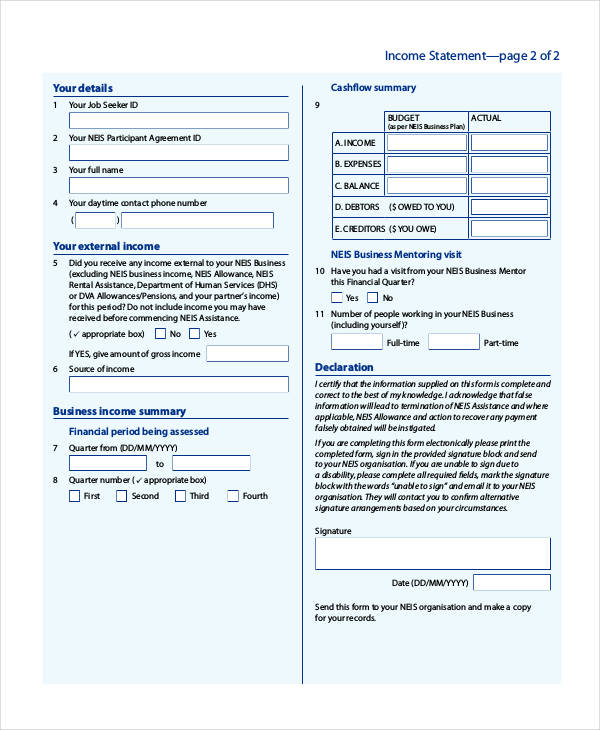 38 Printable Statement Forms - printable statement form