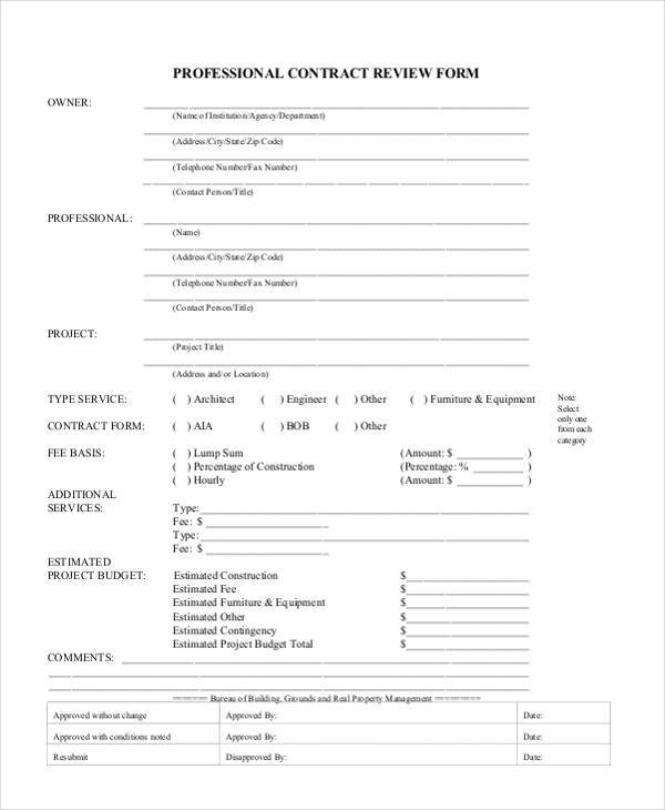 Contract Form Templates - construction form templates