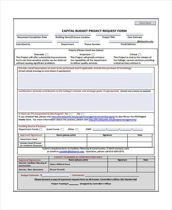 Budget Forms in PDF