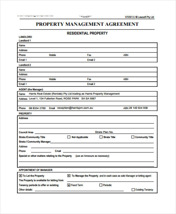 Business Agreement Form Template - management agreement