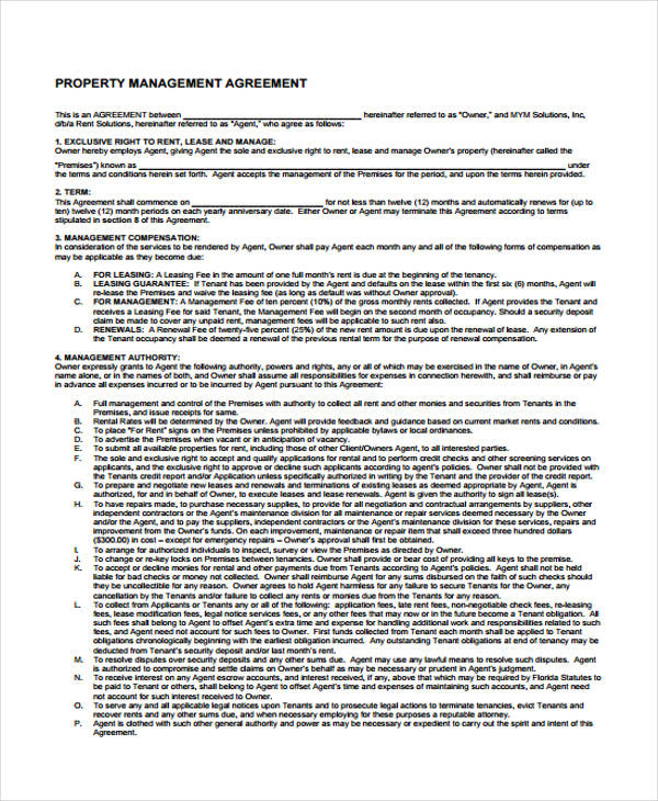 Property Management Agreement Pdf Image collections - Agreement - management agreements