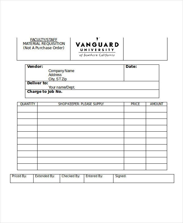 Sample Material Requisition Form - 11+ Free Documents in Word, PDF