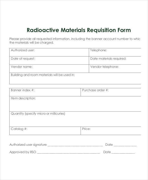 Material Request Form Material Request Material Purchase Request - sample requisition form
