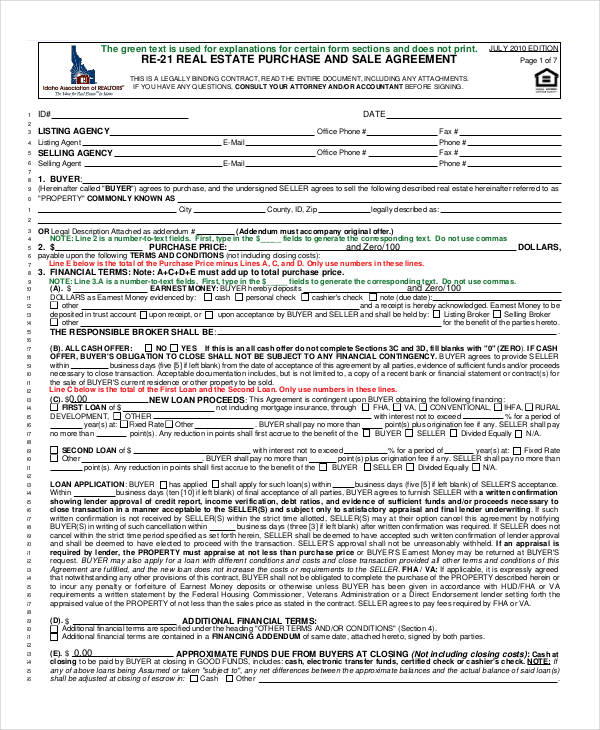 22+ Free Purchase Agreement Form - sample real estate purchase agreement