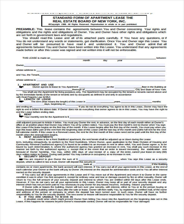 standard form of store lease new york - Solidgraphikworks - standard lease agreements