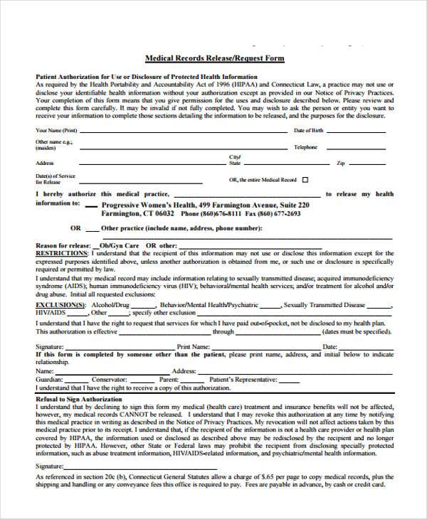 Patient Release Form Template