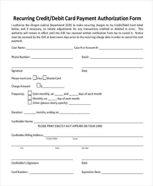 3rd party credit card authorization form - Onwebioinnovate - card authorization template