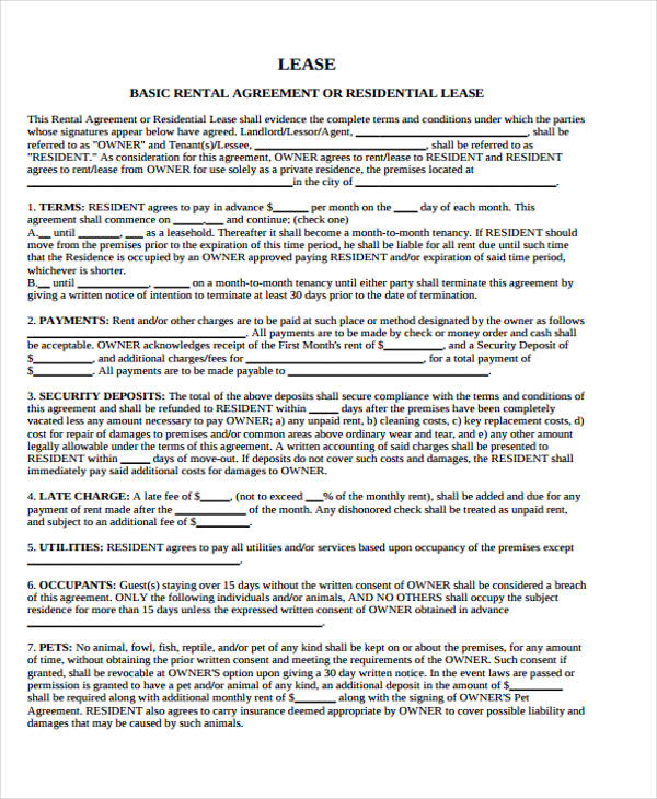 Basic Lease Agreements free download blank lease agreement sample - sample lease agreement form