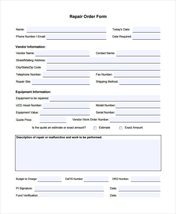 20+ Sample Work Order Forms - work order form