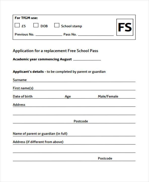 Free School Application Form Templatebillybullock – Free School Application Form