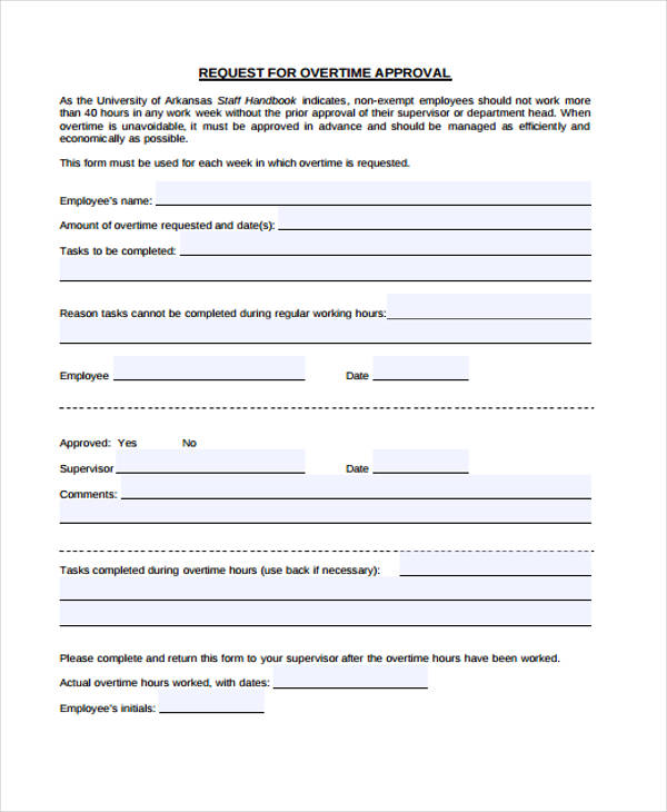 document approval page template overtime request form