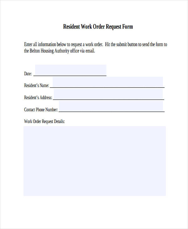 Work Request Form - Resume Template Ideas
