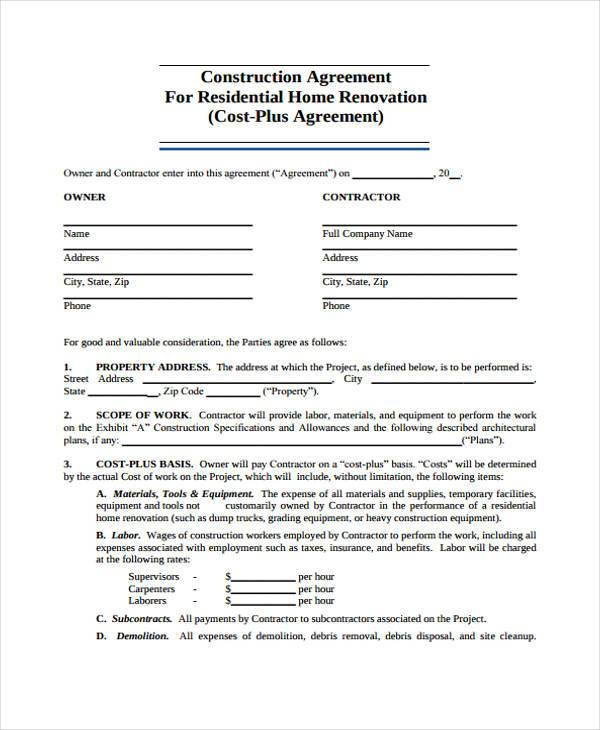 free roofing contract template - free construction contracts templates