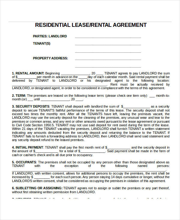 24 Lease Agreement Forms in Doc - apartment lease agreements