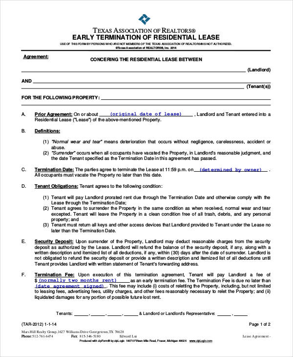 Lease Termination Agreement Sample Termination Letter 14 Free - lease termination form