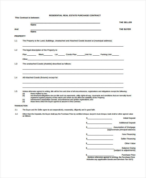24+ Purchase Agreement Form In PDF   Real Estate Purchase Agreement