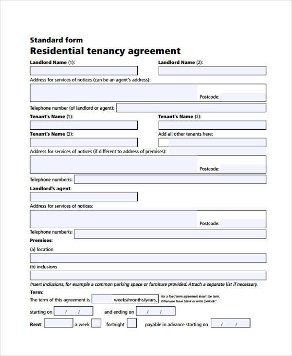 Tenancy Contract Template Residential Tenancy Agreement Template - parking agreement template