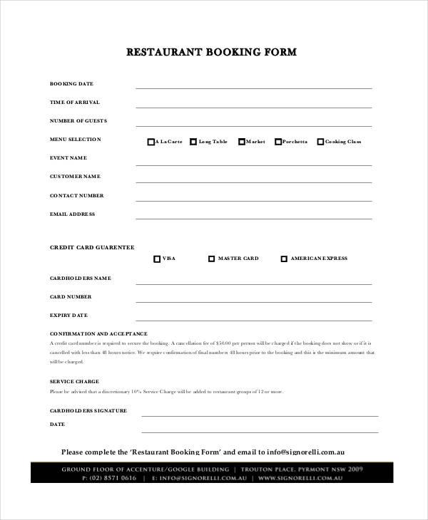31+ Reservation Form Templates