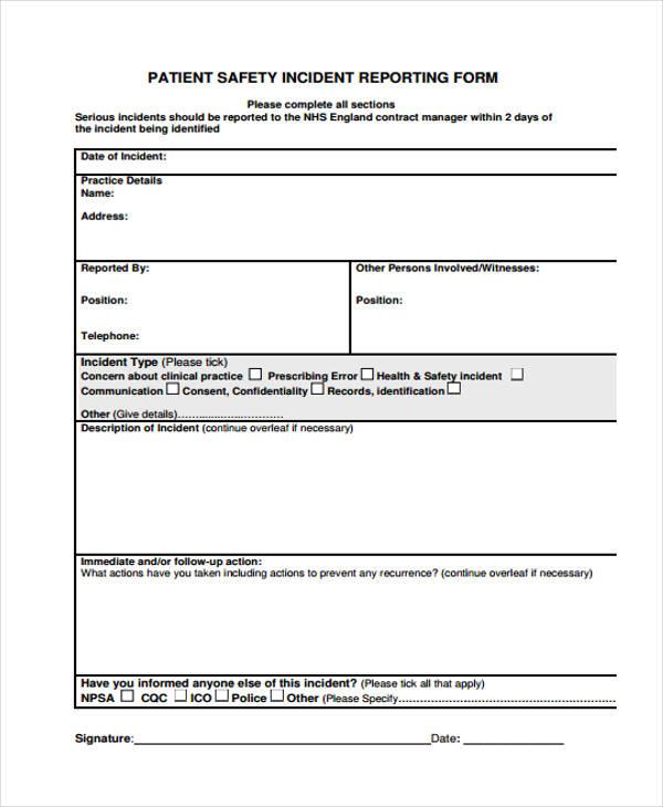 Patient Incident Report Form - Unitedijawstates - medical incident report form