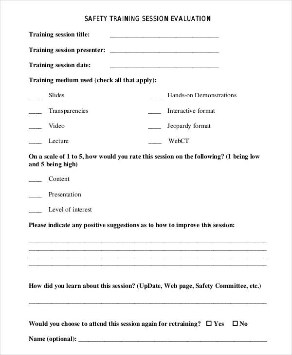 Training Evaluation Form Template - how to create evaluation form