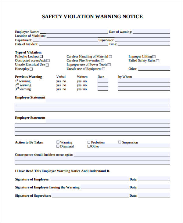 33 Sample Notice Forms - warning notice template