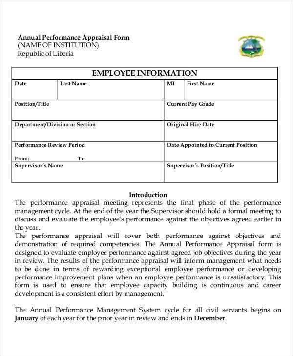 sample performance appraisal form hitecauto - employee appraisal form sample