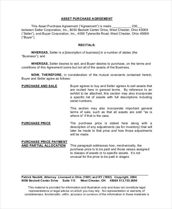 22+ Free Purchase Agreement Form - asset purchase agreement template