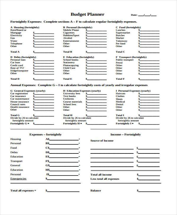 Budget Forms in PDF - sample budget planner