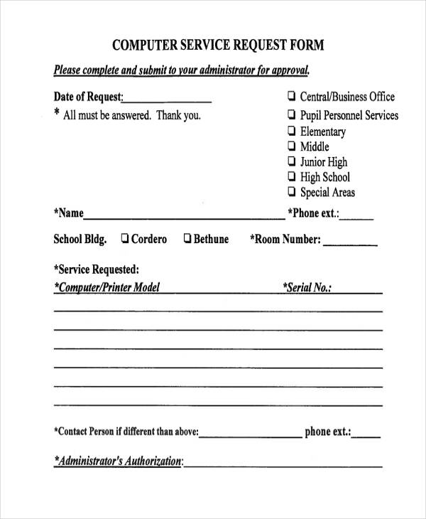 29+ Sample Service Forms - computer service request form